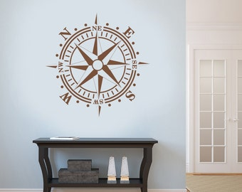 COMPASS ROSE Decal Removable Wall Art Vinyl Nautical Sailing Beach Decor Select Size up to 58x58 inches