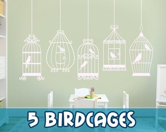 7 BIRDS 5 CAGES Decals Removable Wall Art Vinyl Dinning Living Room Nursery Birdcage Birds Fabric Decal