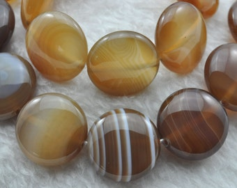 Banded Agate smooth flat coin beads 16mm,24pcs