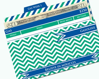 Printable Cash Envelope System - Budget Helper - Emerald and Sapphire by Pretty Finances