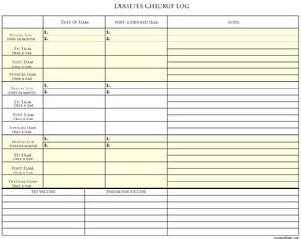 diabetic daily log sheet printable