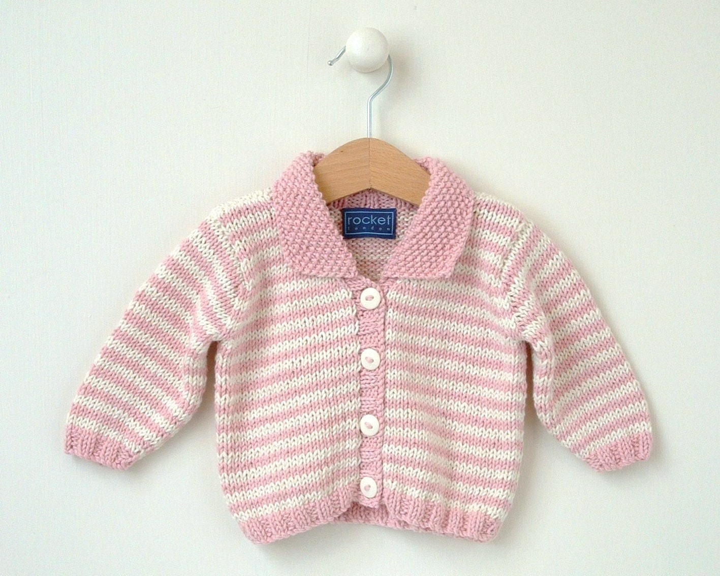 Baby KNITTING PATTERN Mini Stripe Baby Cardigan 0-4m 4-8m