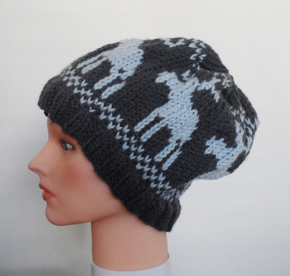 Knitting Pattern For Loose Hat : Slouchy Moose Hat Slouchy Beanie Unisex Slouchy Beanie Made
