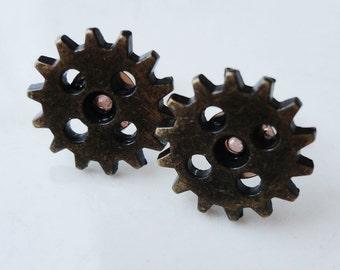 Metal Gears Cogs Gold 5 Hole Steampunk 13mm Stud Earrings