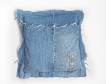 Reclaimed denim and down pillow