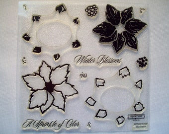 D1108 - Winter Blossoms. Close to My Heart Acrylix Stamp.