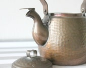 Vintage copper teapot, hammered small kettle, tin single serve, primitive antique, rustic farmhouse decor