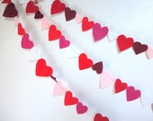 Red Bunting Wedding Felt Heart Garland Reds, White, & Glitter Eco-fi Earth Friendly 7ft Party Supply Wedding Anniversary Love Bunting