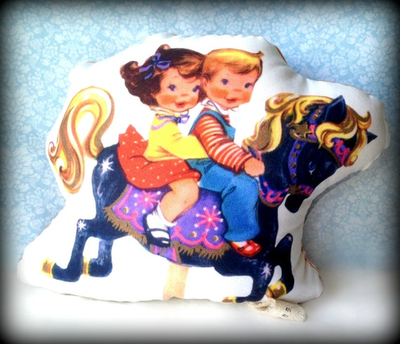 Carousel Children- Handmade Vintage Print Plush Doll, Softie, Nursery Decor , Baby Rattle Toy
