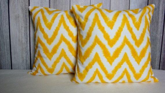 Yellow Chevron Pillows. Pillow. Yellow Pillow. Pillow Cover. Ikat Pillow Cover. Chevron Pillow