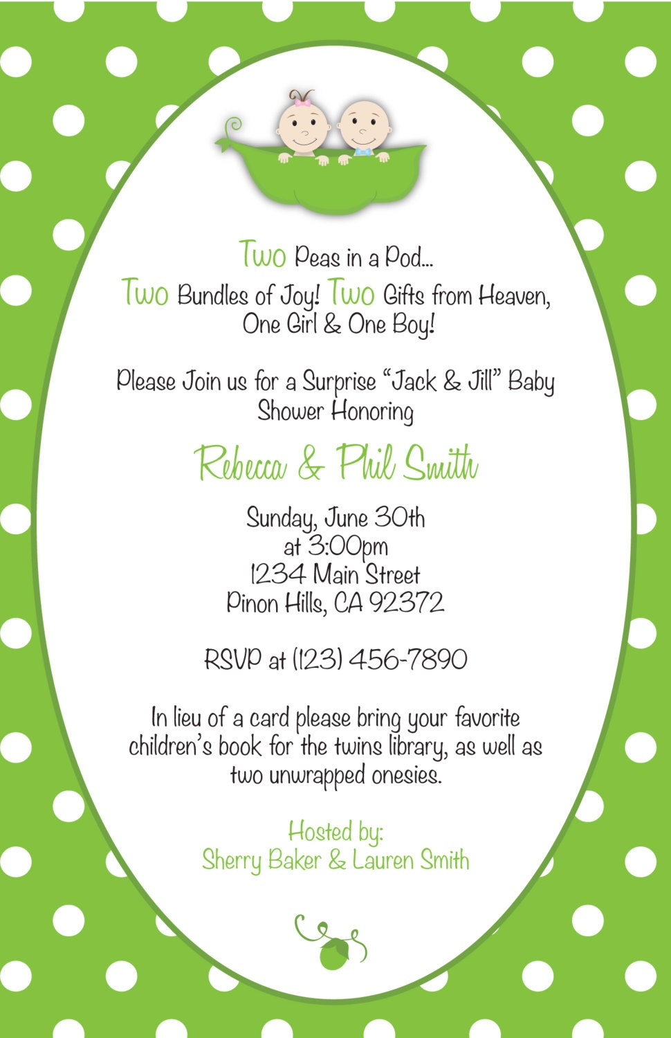 two peas in a pod baby shower invitation thank you card