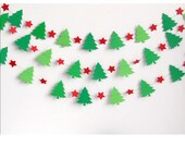 Christmas Garland - Holiday Banner -  Decoration - Trees - Stars - Green - Red