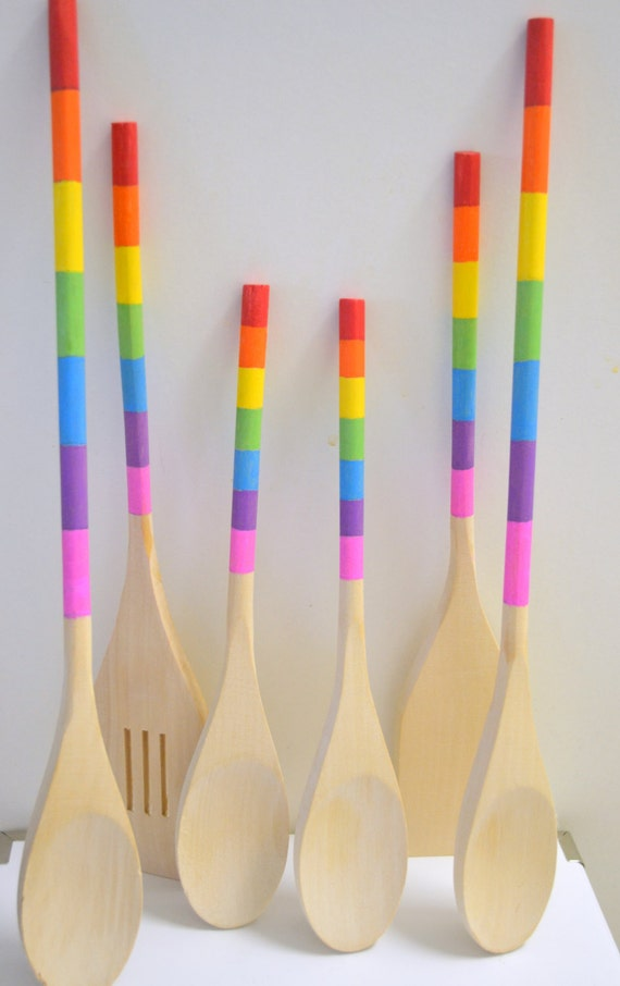 Painted Wooden Spoons Rainbow Kitchen Utensils Set Of 6