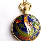 Vintage Gold Antique Scrollwork Enamel Colorful Bright Bold Cockerel Peacock Pheasant Bird Fob Pocket Watch Necklace Locket Pendant