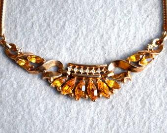 Alfred Philippe Coronet Necklace for Trifari Topaz Rhinestone Pat Pend Vintage