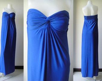 Royal Blue strapless long maxi dress sun beach dress all size