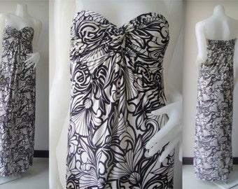White Black printed Strapless sun beach Long maxi dress all size