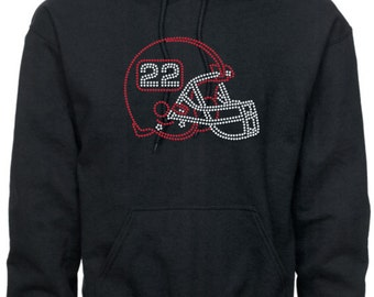 Football Mom Hoodie/ Football grandma/ Football Aunt/Personalized Rhinestone Football Helmet With Player's Number Football Hoodie Sweatshirt