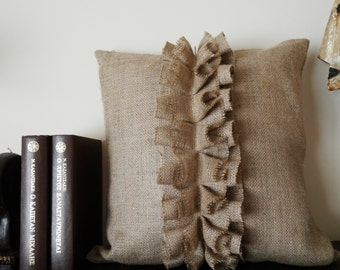 Burlap Ruffles pillow cover