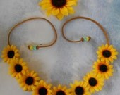 Flower Crown Headband with Sunflowers