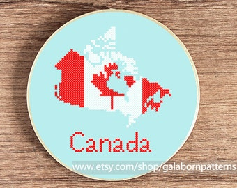 Canada map - PDF counted cross stitch pattern - Patriotic