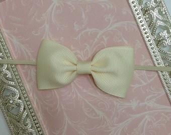 Baby Headband - Newborn Ivory Headband - Baby Bow Headband - Ivory Baby Headband - Bow Headband - Newborn Headband -Ivory Headband