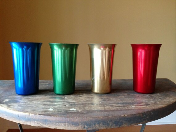 Retro Aluminum Cups Color Craft Set Of 4 Drinking By