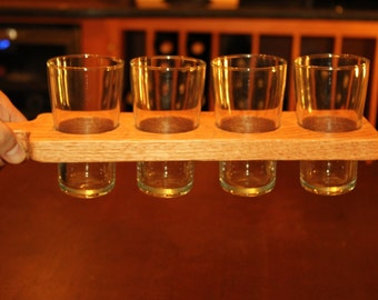 Hand Made Red Oak beer flight paddle with or without 7 ounce glasses