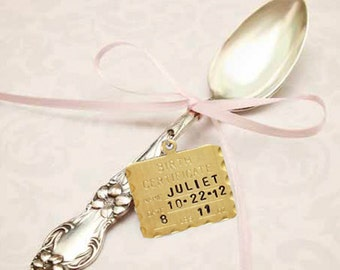 Baby's First Silver Spoon Birth Annoucement - Vintage Silver Spoon - Handstamped - Personalized - Custom Gift