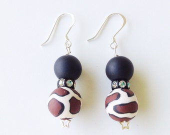 Leopard Print Polymer Clay Beads Earrings, Leopard Beads, Swarovski Crystals, Brown & Black, Animal Print, Millefiori