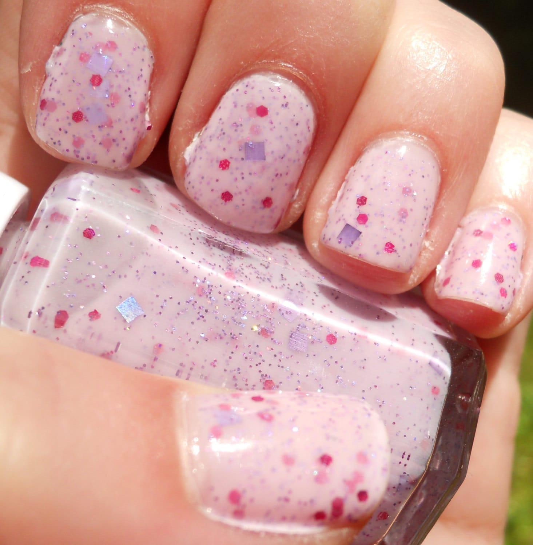 Pink Purple Nail Polish: Milky Pink Nail Polish With Pink Purple And Lavender Glitter