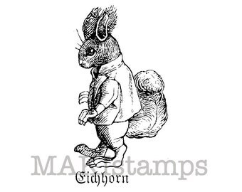 Rubber stamp of a Squirrel / Unmounted rubber stamp / Squirrel rubber stamp (130203)