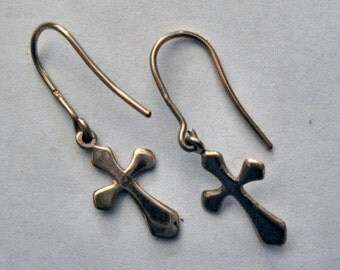 GOLD CROSS EARRINGS solid 9 ct gold