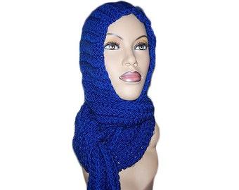 Royal Blue Hooded Scarf - Womens Scarf, Mens Scarf - Royal Blue Crocheted Scarf