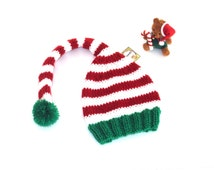 Christmas Adult Hat - Adult Elf hat with long tail - Funny Christmas Gift - Handknitted