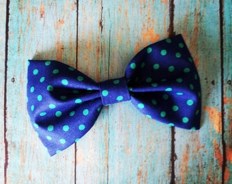 Navy Blue and Emerald Green Polka Dot