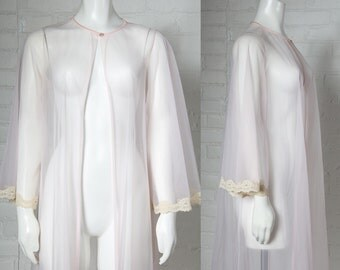 1960's Vintage long nightgown pale pink tricot lingerie