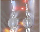 Beautiful Silver Hook Earrings with Facetted Rock Crystal