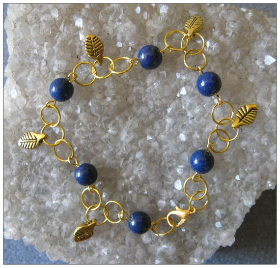 Handmade Gold Jewelry Set with Lapis Lazuli & Leaves by IreneDesign2011