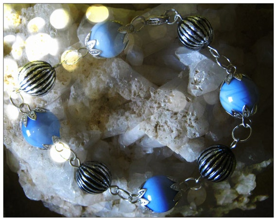 Handmade Silver Bracelet with Lace Agate by IreneDesign2011