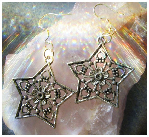 Handmade Silver Hook Earrings with Star by IreneDesign2011