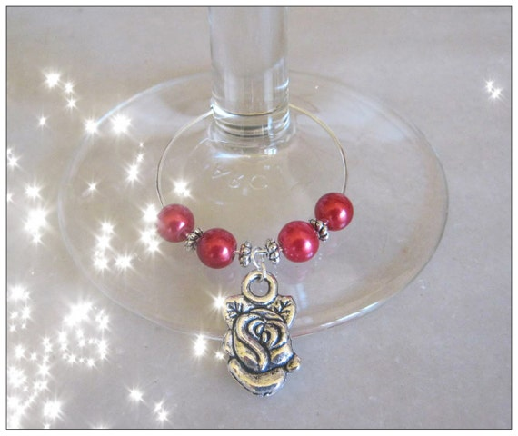 Handmade Silver Wine Glass Charms with Roses by IreneDesign2011