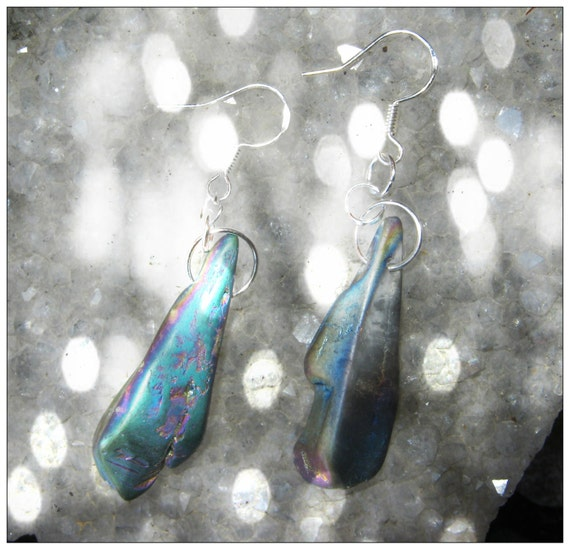 Silver Hook Earrings with Picture Titanium Crystal Agate Druzy Quartz