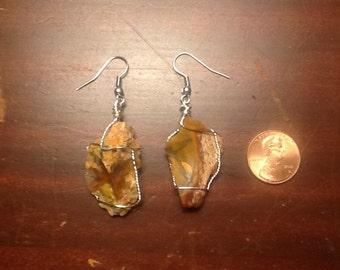 Petrified Wood Earrings wire wrapped (23)