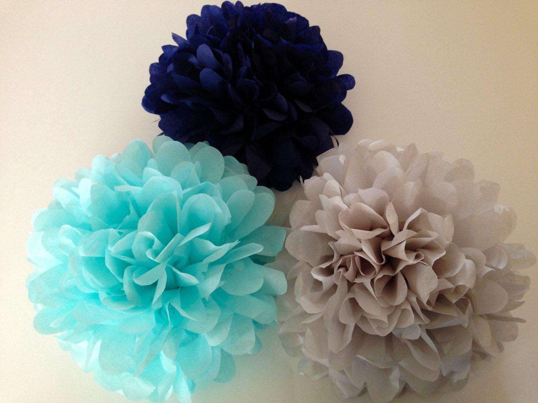 set of 24 tissue paper pom poms party poms birthday. Black Bedroom Furniture Sets. Home Design Ideas
