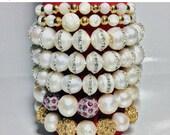 On sale Women pearl stackable bracelet sets