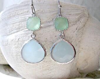 alice blue earrings blue gemstone earrings Light Mint Earrings pastel blue earrings Alice Blue Jewelry Silver Earrings Beach Wedding dangle
