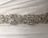 On Sale: Victorian / Vintage inspired crystal wedding sash, bridal belt, ribbon belt or bridal headband