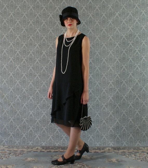 Elegant black flapper dress with chiffon ruffled skirt detail Great Gatsby dress Roaring 20s flapper dress 1920s flapper dress $130.00 AT vintagedancer.com
