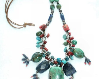 Necklace Turquoise  Lapis Lazuli  Bamboo Coral Silver  Chain Leather Cord